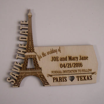 25 Save The Date Eiffel Tower Wood Shapes, Paris Theme Wedding Favors, Unfinished Wood Ornament, Personalized Favors, Paris Save the Date