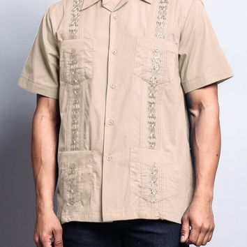 Men's Short Sleeve Cuban Style Guayabera Shirt 2000-1 (Beige)