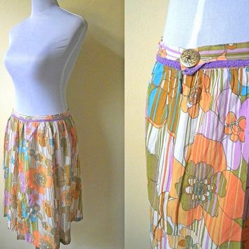 Spring / Summer Sale: orange and purple floral striped A line skirt (30 inches)