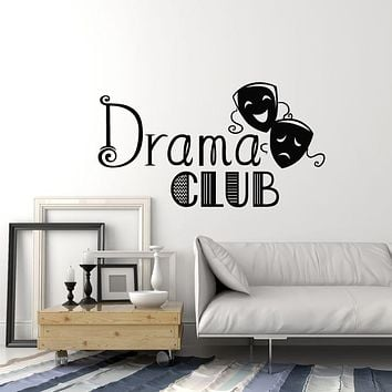 Vinyl Wall Decal Drama Club Theatre Laughing And Crying Masks Stickers Mural (g1738)