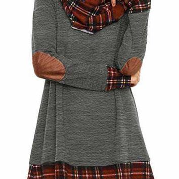 Charcoal Plaid Elbow Patch Cowl Neck Dress