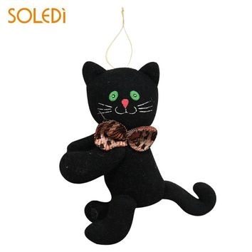 SOLEDI Halloween Doll Black Cat Cloth Lovely Pumpkin Plush Doll Ghost Hanging Home Toys Decor Ornament