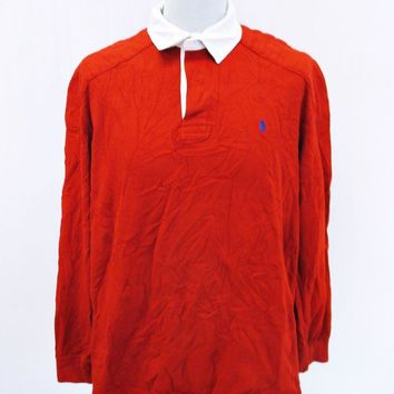Retro Ralph Lauren Red white Long Sleeved Polo T-Shirt XL