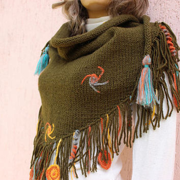 Green Knit Shawl Mandala Shawl Fringe Shawl Handmade Wrap Buy 2 Get 1 Free EXPRESS SHIPPING