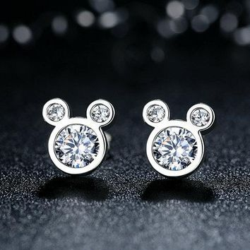 Sterling Silver Dazzling Mickey Mouse Stud Earrings