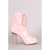 Peep Toe Lace Up Chunky Clear Heeled Ankle Boots