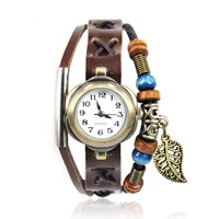 ZLYC 90's Girls Women Handmade Fashion Vintage Retro Leather Watch with Leaf Pendant