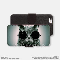 Cool cat sunglasses iPhone Samsung Galaxy leather wallet case cover 076