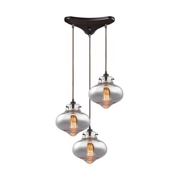 31955/3 Kelsey 3 Light Pendant In Oil Rubbed Bronze And Mercury Glass - Free Shipping!