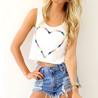 SABO SKIRT Threaded Heart Top - White - 32.0000