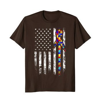 Autism Awareness T-Shirt American Flag Distressed Tee