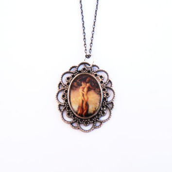 Passion Tree Illustration Resin Silver Metal Baroque Cameo Necklace Pendant Handmade Jewelry