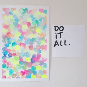 Neon colorful abstract watercolor dots (discounted price) / modern nursery decor / minimal watercolor