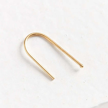 18k Gold + Sterling Silver Round Hook Threader Earring | Urban Outfitters
