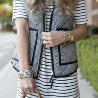 Stylish textured Herringbone Quilted Puffer Vest
