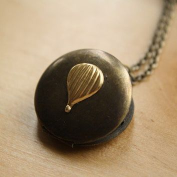 Small Hot Air Balloon Locket Pendant, Long Chain Necklace, Dark Vintage Locket, Gold Charm, Antiqued Brass, Two Tone Metal, Unique