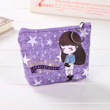 The new 2017 cartoon stamps purse key bag lady lovely girl fresh leather cosmetic bag