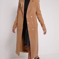 Salana Camel Longline Double Breasted Coat - Coats - PrettyLittleThing | PrettyLittleThing.com