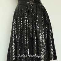 Women Sparkling Skirt/ Ladies Sequin/Wedding / Evening Skirt/Midi /Tea Length /Handmade