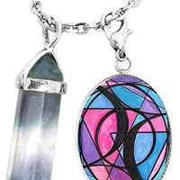 Bisexual Love Symbol Charm & Fluorite Stone Point Necklace