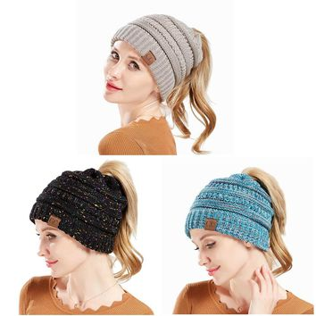 Winter CC Hat Women Ponytail Beanie for Lady Crochet Ponytail Cap Casual Messy Bun Muts Female Knitted Baggy Stretch Skullies