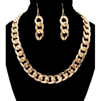 Toggle Chain Dramatic Necklace Set - Heavy!  Weighs 7 oz