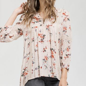 Soft Dusty Pink Floral Crochet Lace Tunic Top