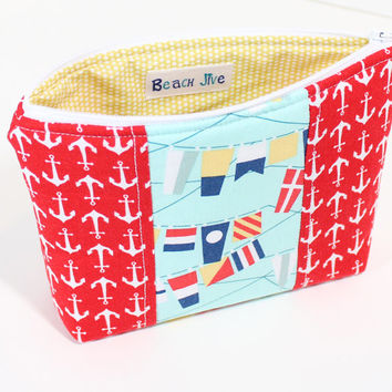 Makeup Bag Zipper Cosmetic Case Accessory Pouch with Red Anchor and Nautical Flag Fabric