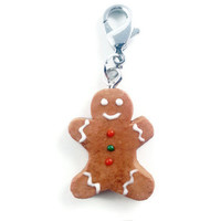 Polymer Clay Gingerbread Man Charm - Miniature Gingerbread Man Keychain - Christmas Keychain - Miniature Food - Stocking Stuffer - Cute Gift