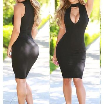 Deep V Neck Choker Mini Bandage Dress