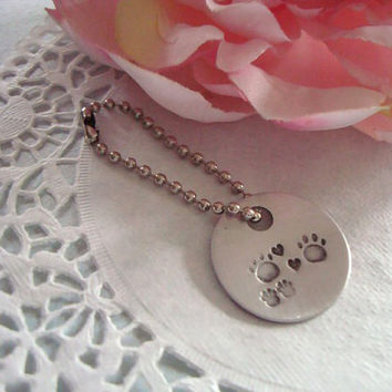 Love Dogs Paw Print And Heart Hand Stamped Keychain