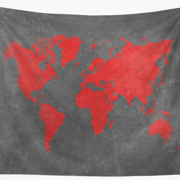 World map black and red by JBJart