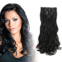 "20"" Curly Full Head Kanekalon Futura Heat Resistance Hair Extensions Clip on in Hairpieces 7pcs"