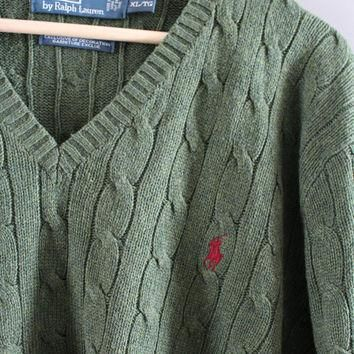 Ralph Lauren Sweater 100% SILK Olive Green Cable Knit Sweater Polo Slouchy Sweater V-n