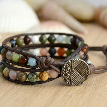 Semiprecious gemstone bead bracelet. Mixed stone hippie style wrap bracelet -Made to order-