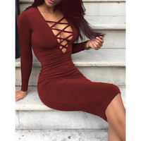 Attractive Solid Color Hollow Out Plunging Neck Bodycon Long Sleeve Dress For Women