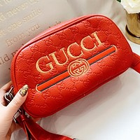 GUCCI New fashion embroidery letter stripe more letter print leather shoulder bag crossbody bag Red