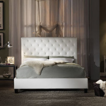 Sophie Tufted White Leather Queen Bed