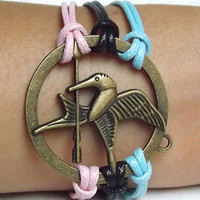 Unisex fashion simple Bronzer Hunger Games Mocking Bird  charm bracelet--pink black and blue wax rope adjustable braided bracelet