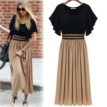 Plus Size Batwing Sleeves Long Dress