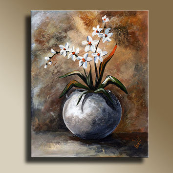 Still Life White Flowers Print Poster Home Decor Wall Art Decorative Art  012049