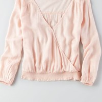 AEO Women's Wrap Front Top (Blush)