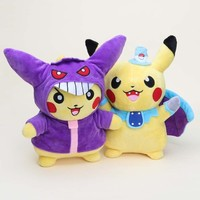 27cm 2Styles Pokemon Go Pikachu Cospaly Batman and Gengar Stuffed Soft Plush Toy Dolls Collectible s for Kids