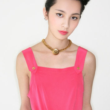 REDUCED was 309 now 285 hottest vintage 1970s/80s CHANEL neon pink silk pinafore top w/gold Chanel buttons