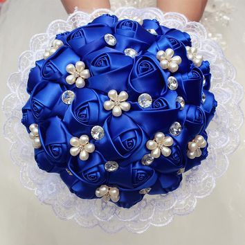 1Piece Lace New Simple Royal Blue Rose Flowers Bridal Wedding Bouquet Pearl Diamond Bridesmaid Wedding Flowers Bouquet W2286