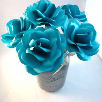 Teal Paper Flowers with Stems - Paper Rose - Paper Flower - Anniversary Gift - Wedding Flowers - Bouquet - Home Decor - Valentine's Day