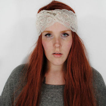 Lace Headband, Turban Headband, Grey headband, Boho Indie headband, Hair Wrap, Gyspy turband // Dove