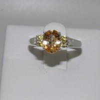 New Sterling Silver ring sz 6 Yellow Imperial Garnet January w Yellow Sapphires
