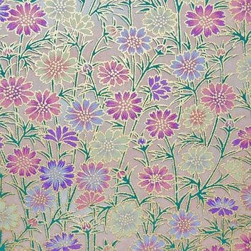 Japanese Chiyogami Yuzen Paper - Purple Daisies with Gold Highlights on Peach - 5 x 4.25 inches