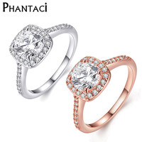 Rose Gold And IR Plated Square Cubic Zirconia Wedding Ring For Women's Fashion Jewelry Free Shipping